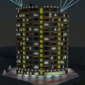 Lighting Design for Kish's Atlas building facade